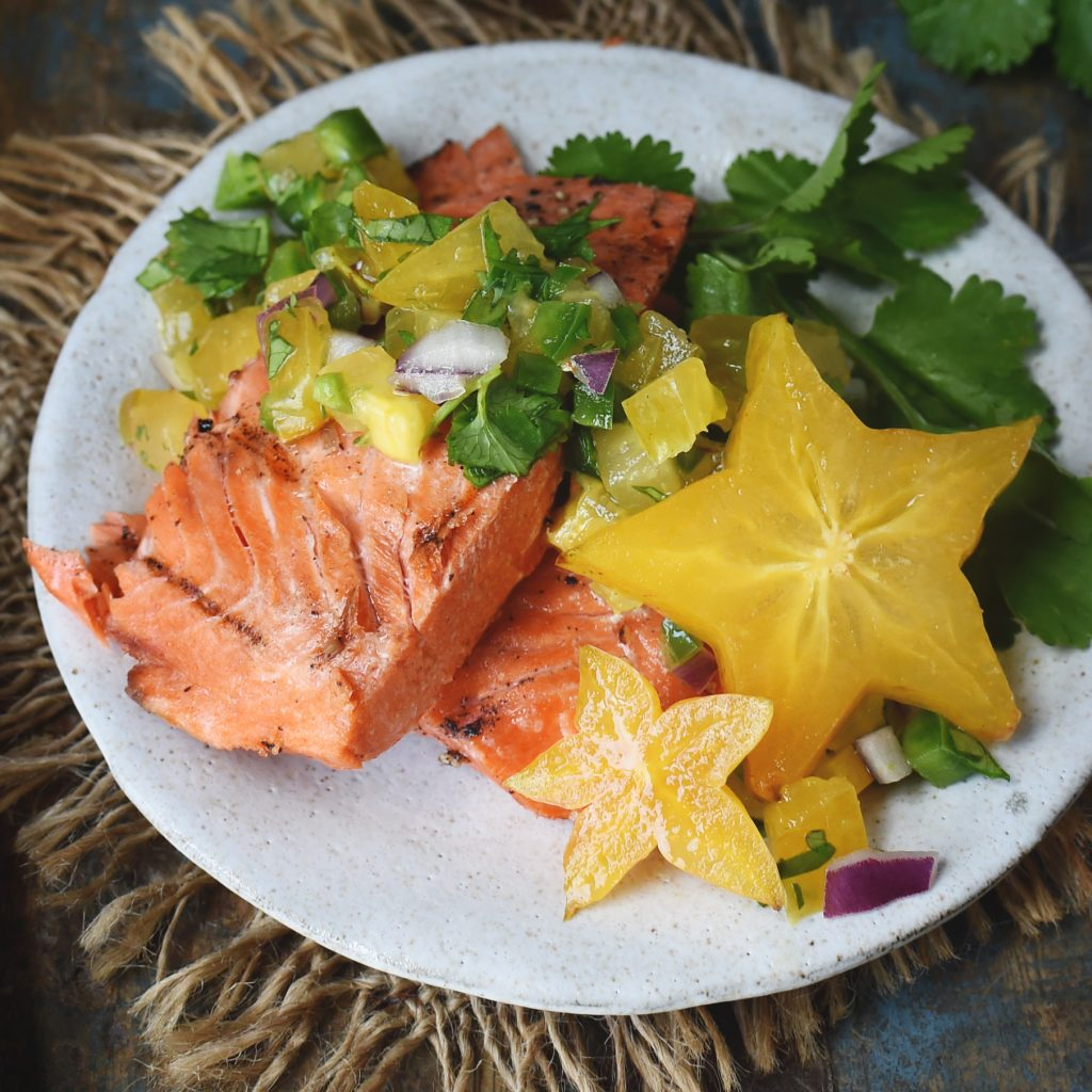 Low-Carb Salmon with Starfruit Salsa-The finished recipe.