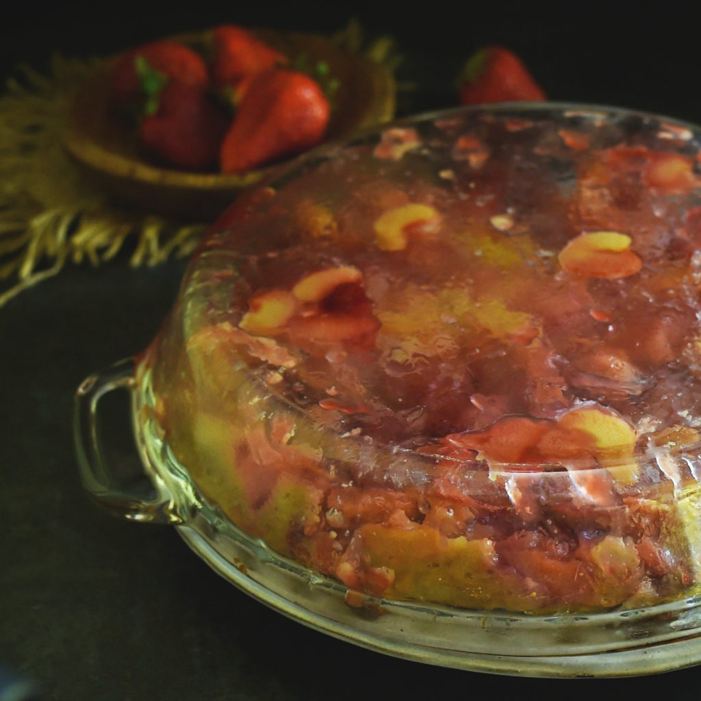 Low-Carb Strawberry Rhubarb Upside-Down Cake-Flipped onto the serving plate.