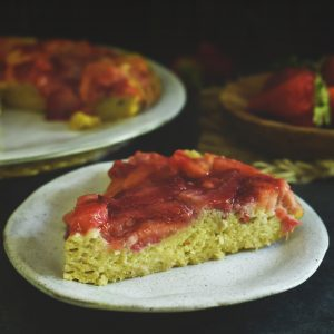 Low-Carb Strawberry Rhubarb Upside-Down Cake-Serving