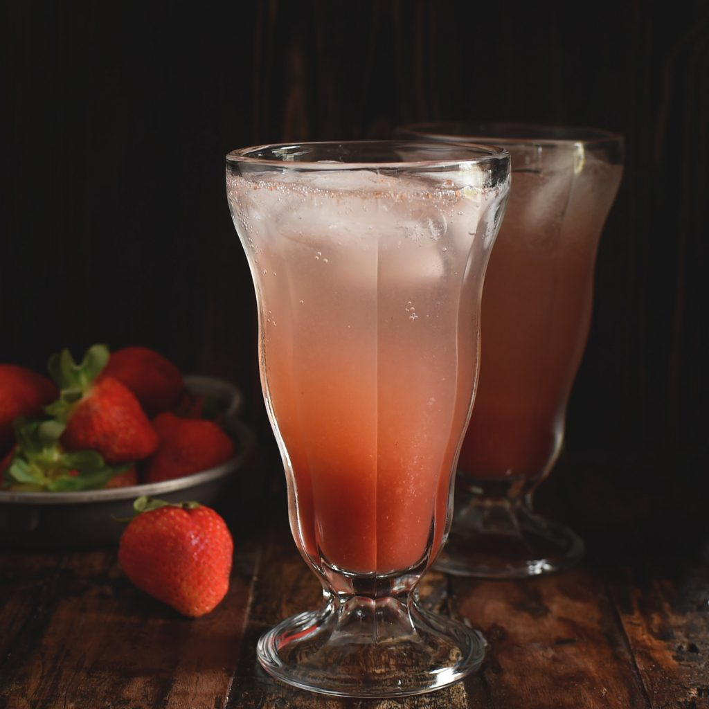 Low-Carb Strawberry Italian Cream Soda Recipe -adding the sparking water.