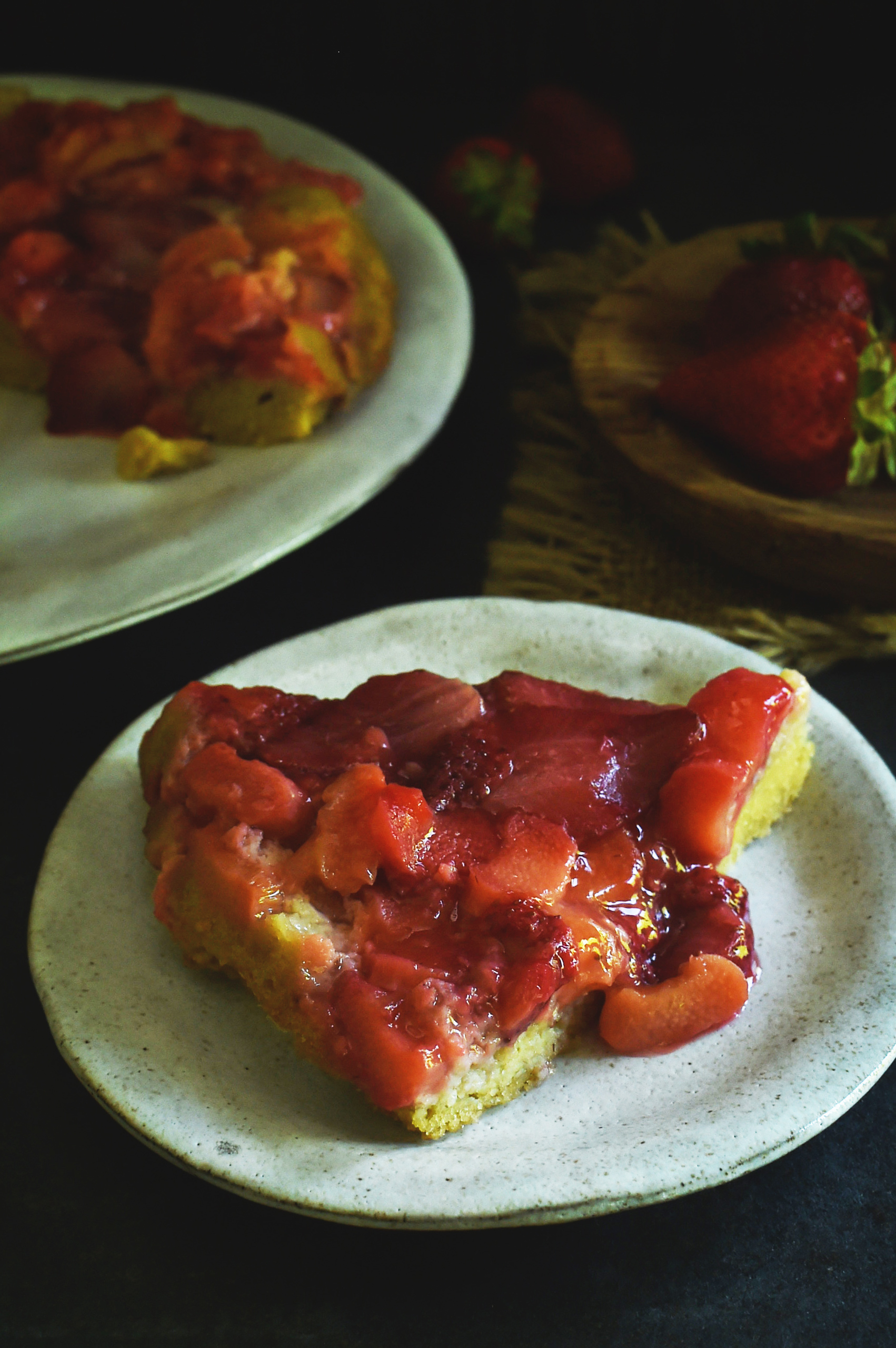 Low-Carb Strawberry Rhubarb Upside-Down Cake served on a plate.