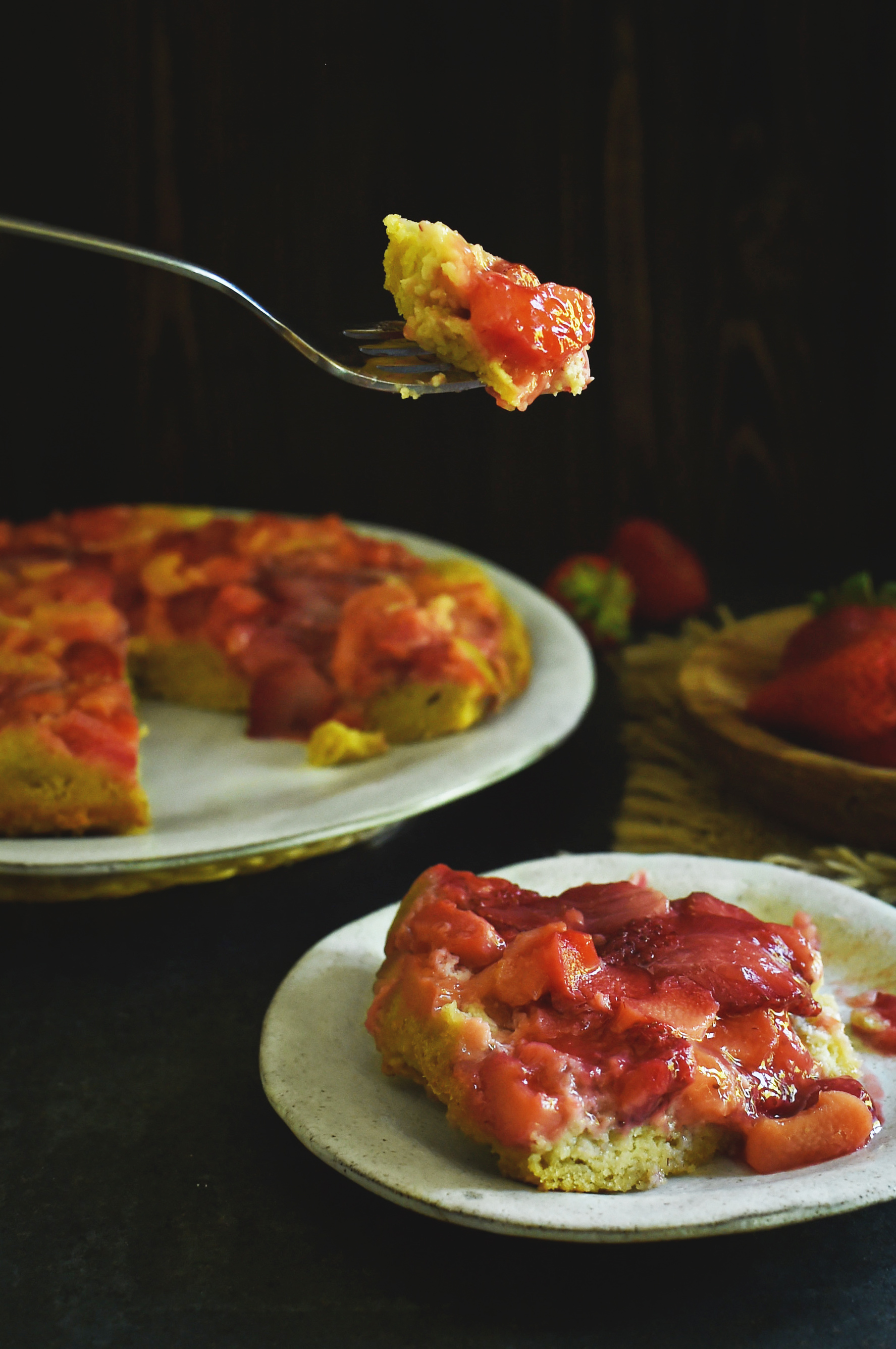 A bit of our Low-Carb Strawberry Rhubarb Upside-Down Cake