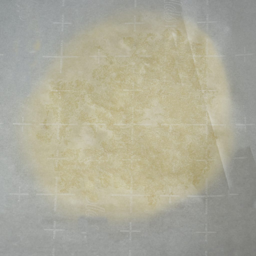 Low-Carb Pizza Crust Recipe-dough between the parchment sheets.