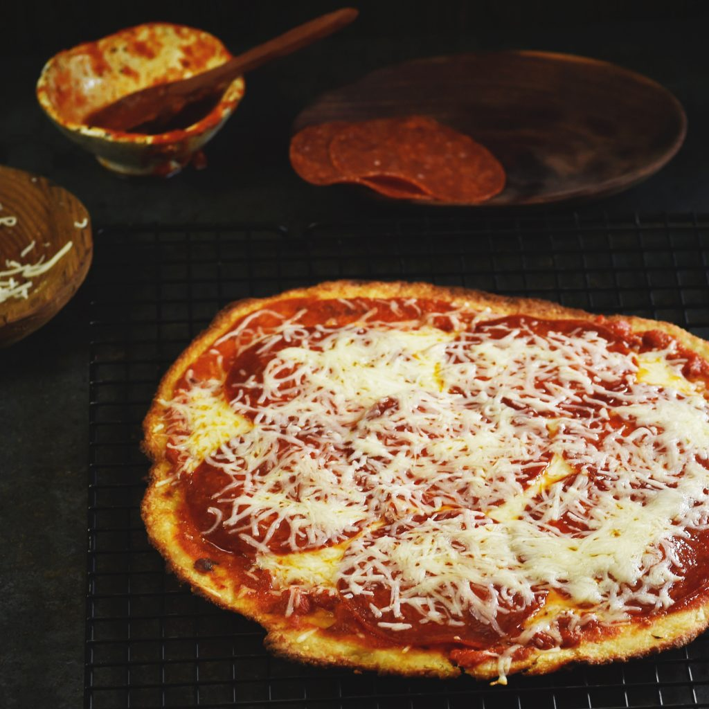 Low-Carb Pizza Crust Recipe-Ready to serve.