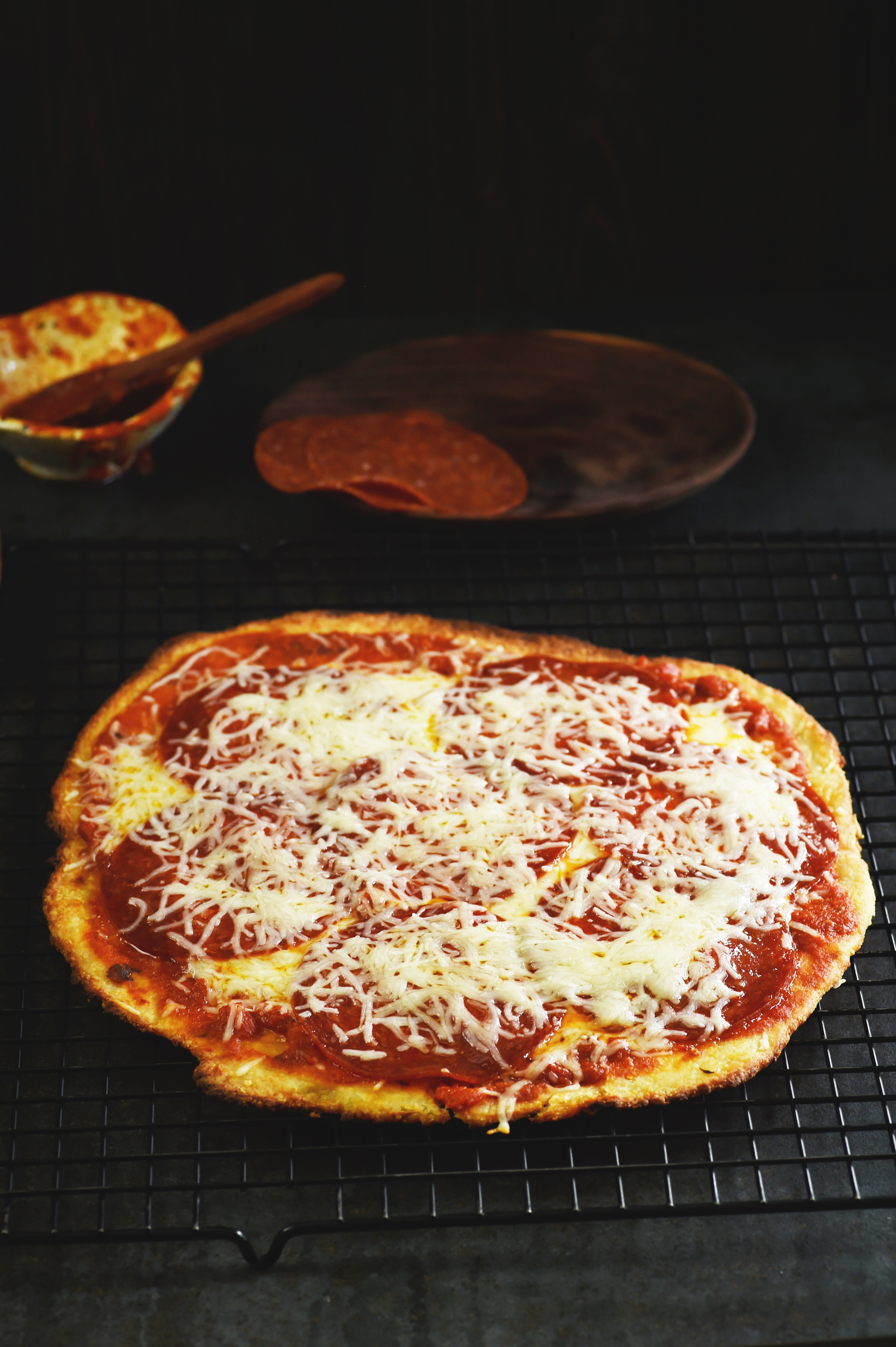 Low-Carb Pizza Crust Recipe-Ready to cut!