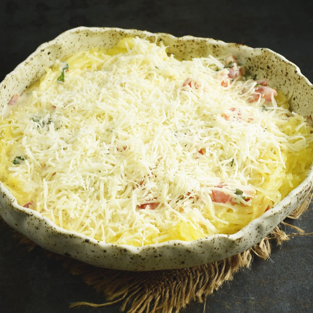 Italian Low-Carb Spaghetti Squash Casserole Recipe -ready for the oven.