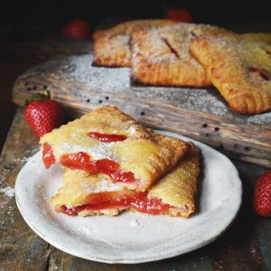 Low-Carb Strawberry Pastries Recipe-broken in half.