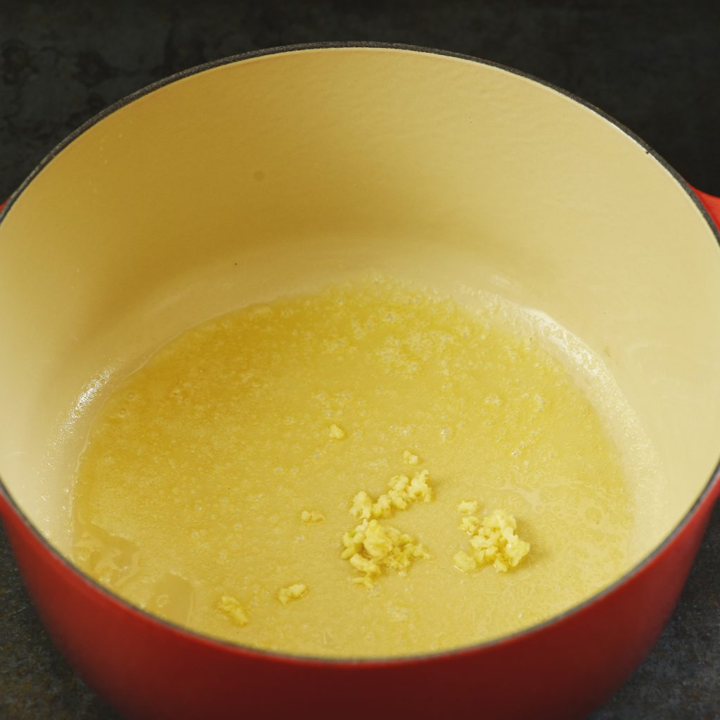 Low-Carb Cream of Roasted Asparagus Soup recipe -Adding the garlic.