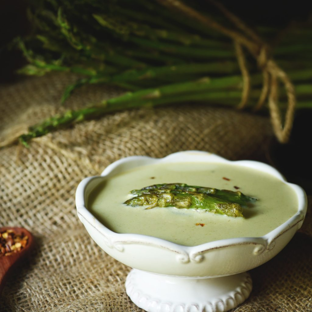 Low-Carb Cream of Roasted Asparagus Soup--Finished product.