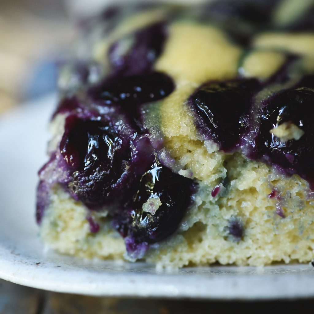 Low-Carb Blueberry Almond Flour Coffee Cake-close-up of cake.