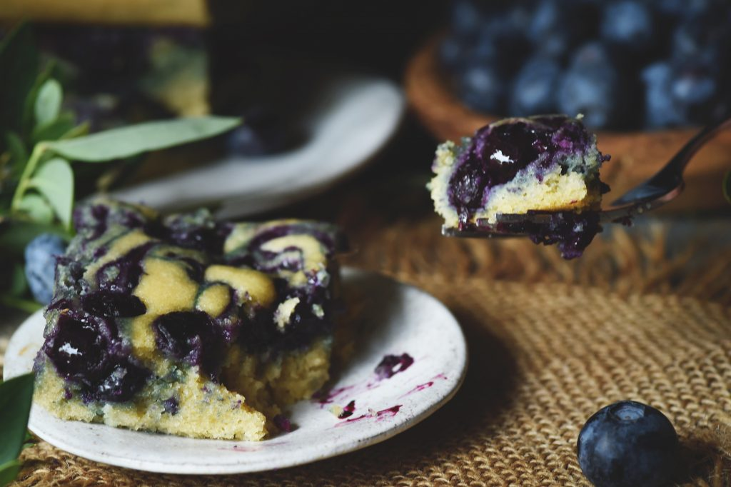 Low-Carb Blueberry Almond Flour Coffee Cake