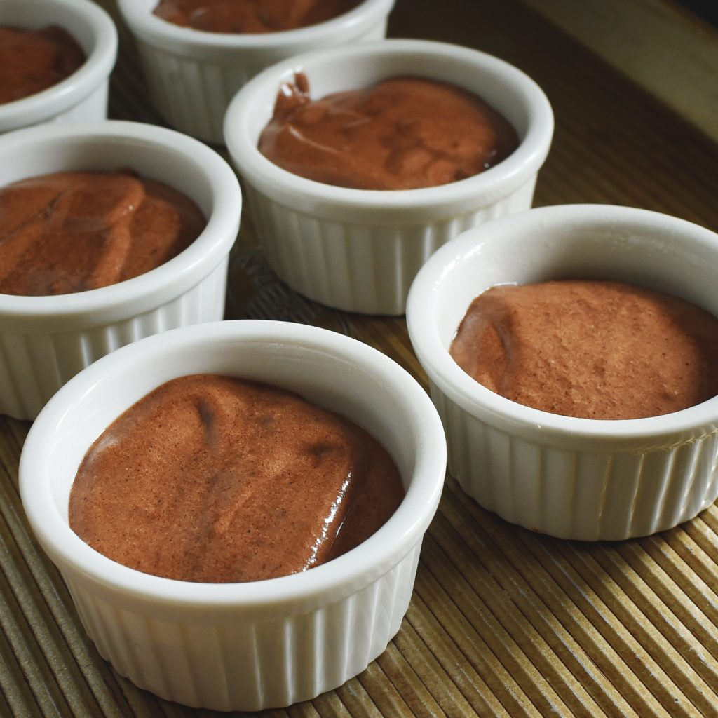 Low-Carb Chocolate Soufflé Recipe -Ready for the oven.