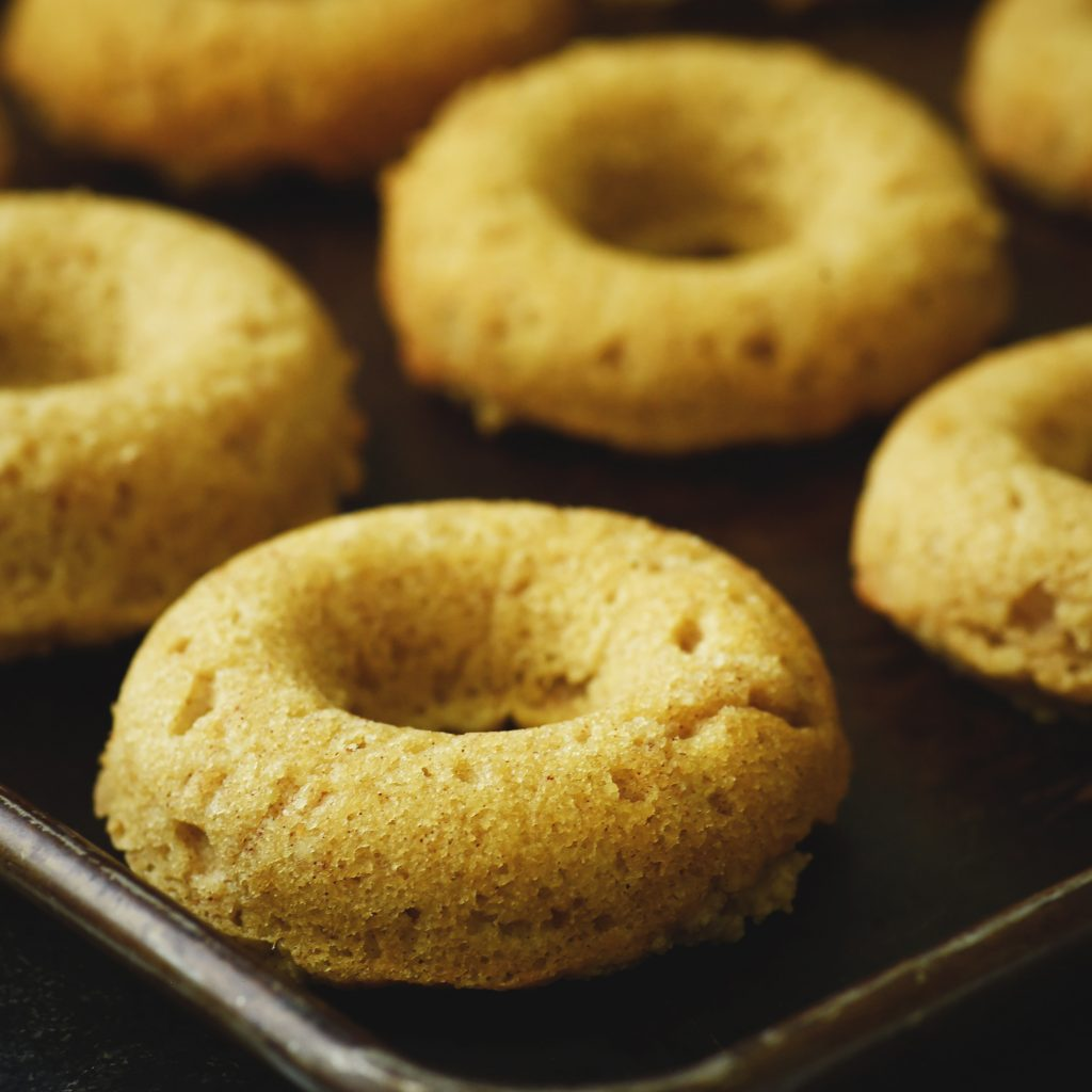 Low-Carb Cinnamon Sour Cream Donuts-Ready for the topping.