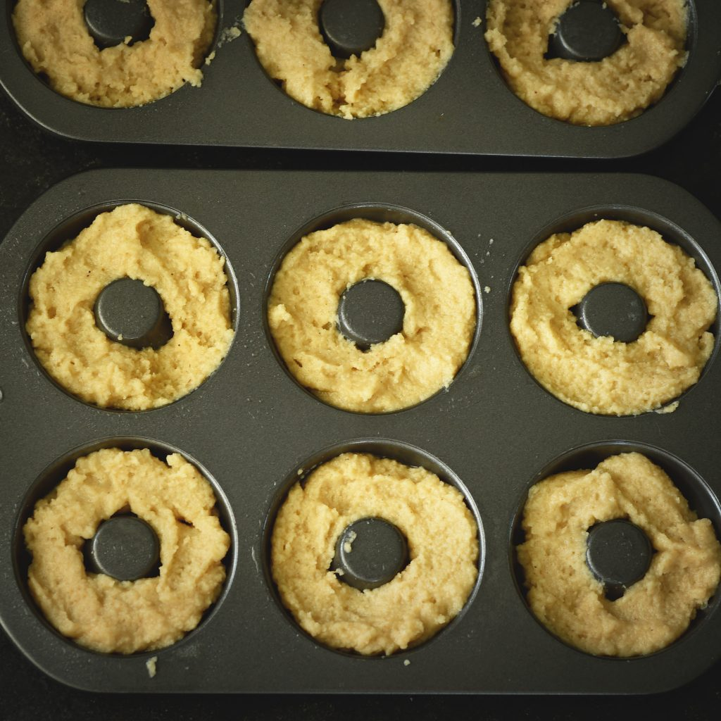 Low-Carb Cinnamon Sour Cream Donuts-ready for the oven.