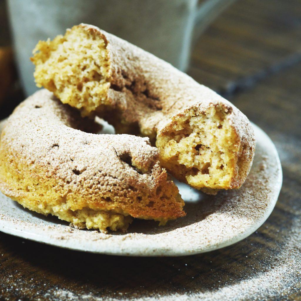 Low-Carb Cinnamon Sour Cream Donuts-Broken in half