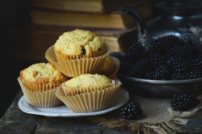 Low-Carb Blackberry-Filled Lemon Almond Flour Muffins