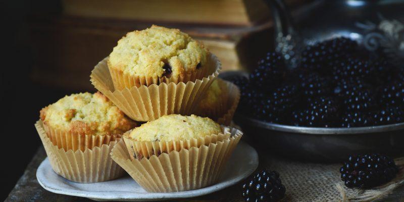 Low-Carb Blackberry-Filled Lemon Almond Flour Muffins