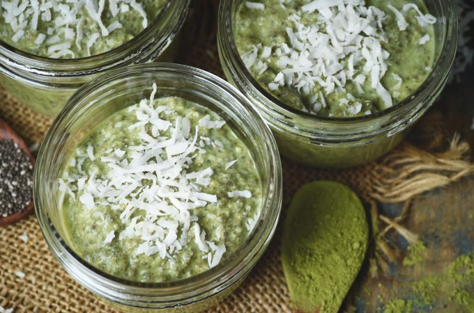 Low-Carb Coconut Matcha Chia Pudding Recipe