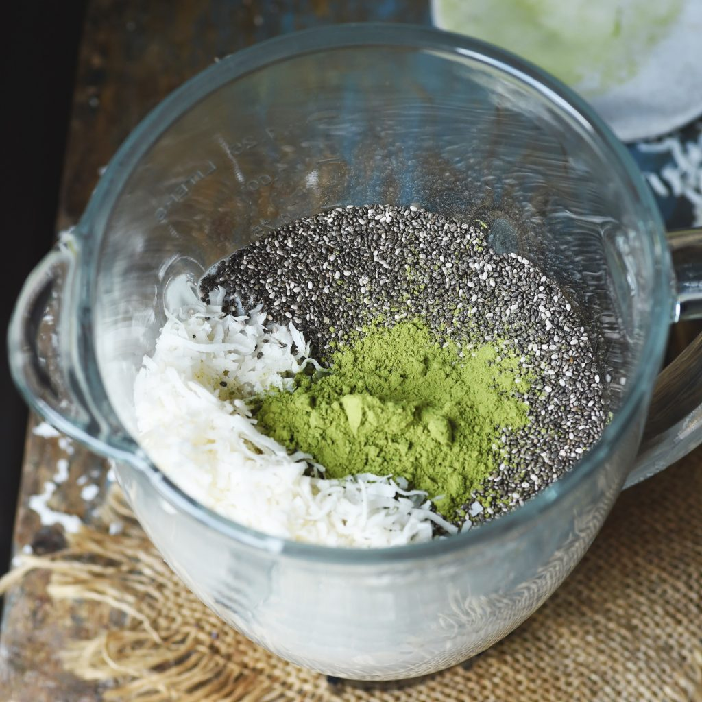 Low-Carb Coconut Matcha Chia Pudding-Ingredients in the blender.