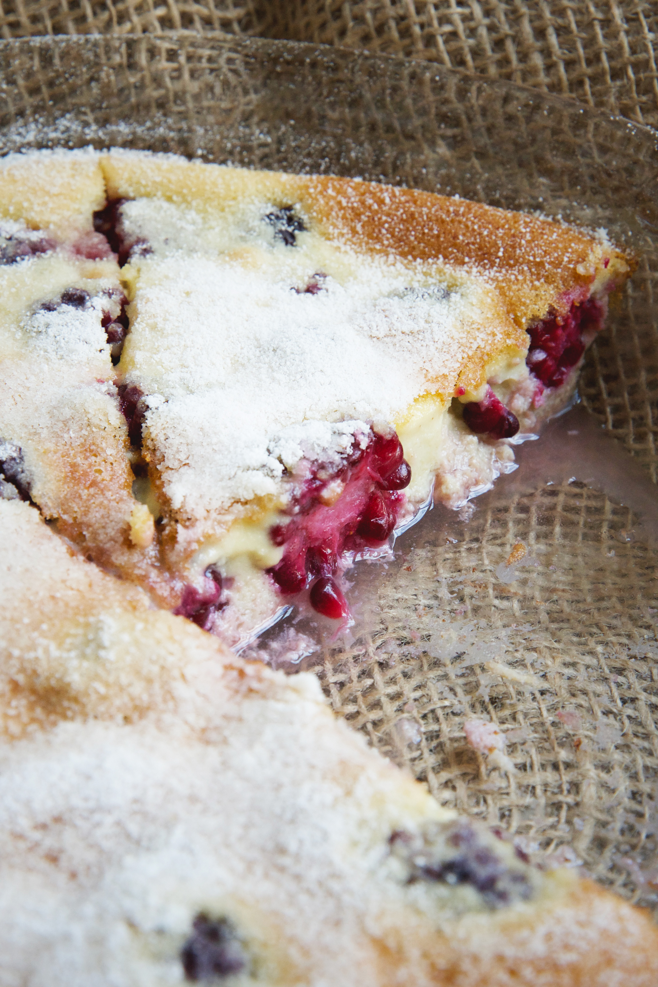 Easy Keto-Friendly Blackberry Clafoutis-Dessert with one piece missing