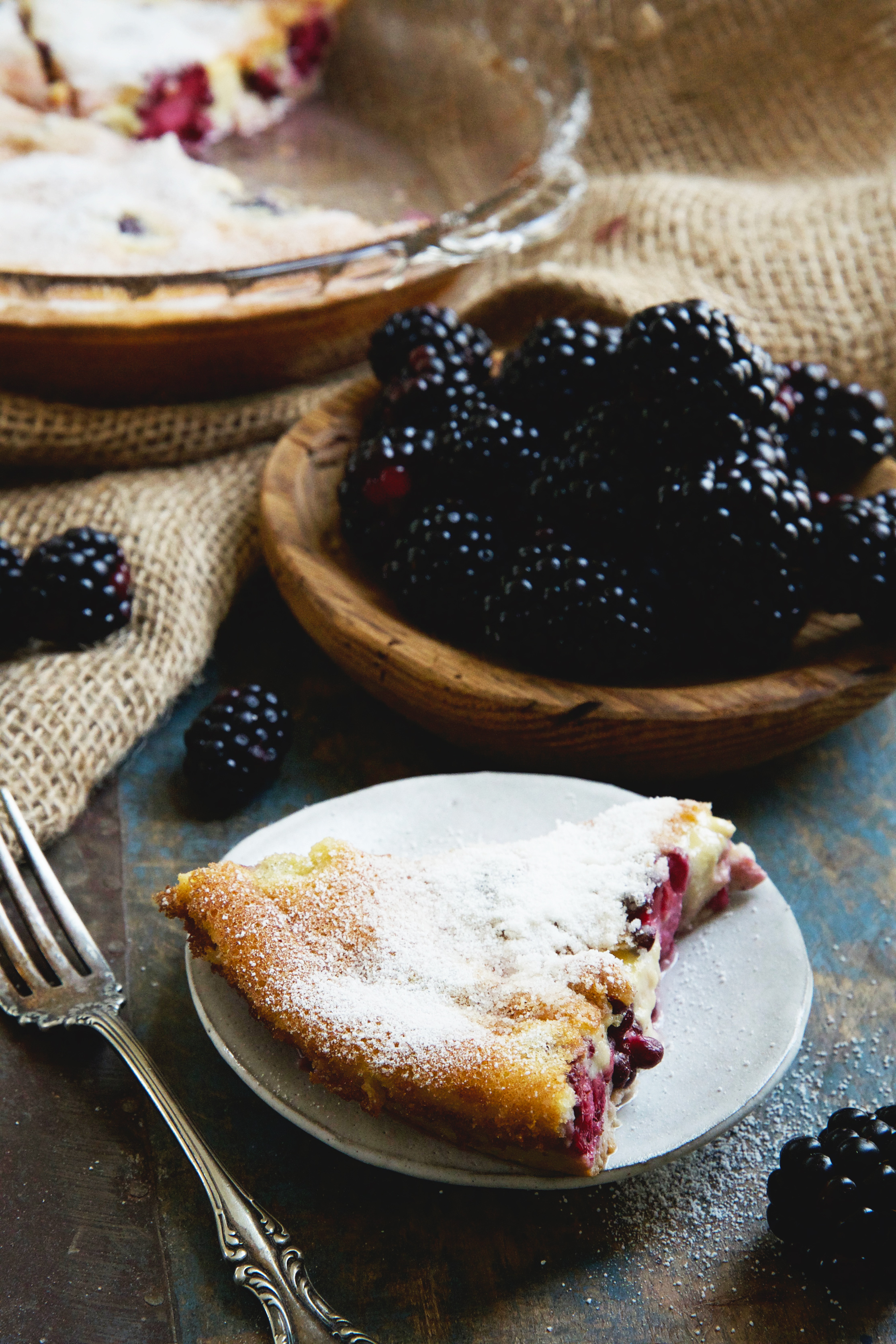 Easy Keto-Friendly Blackberry Clafoutis-a piece served on a plate.