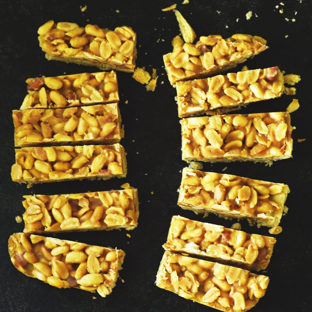 The Best Homemade Low-Carb Snickers Bars -Cut bars