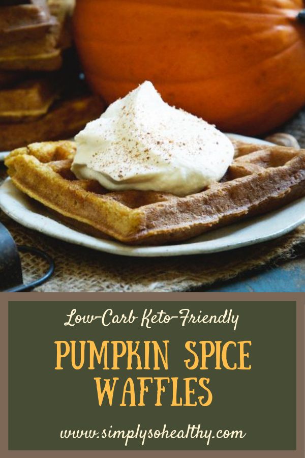 This Pumpkin Low-Carb Almond Flour Waffle Recipe makes fluffy waffles brimming with pumpkin spice flavor. These waffles can be part of a low-carb, keto, Atkins, gluten-free, grain-free, dairy-free, or Banting diet. #pumpkinspice #lowcarb #keto #waffles #almondflour