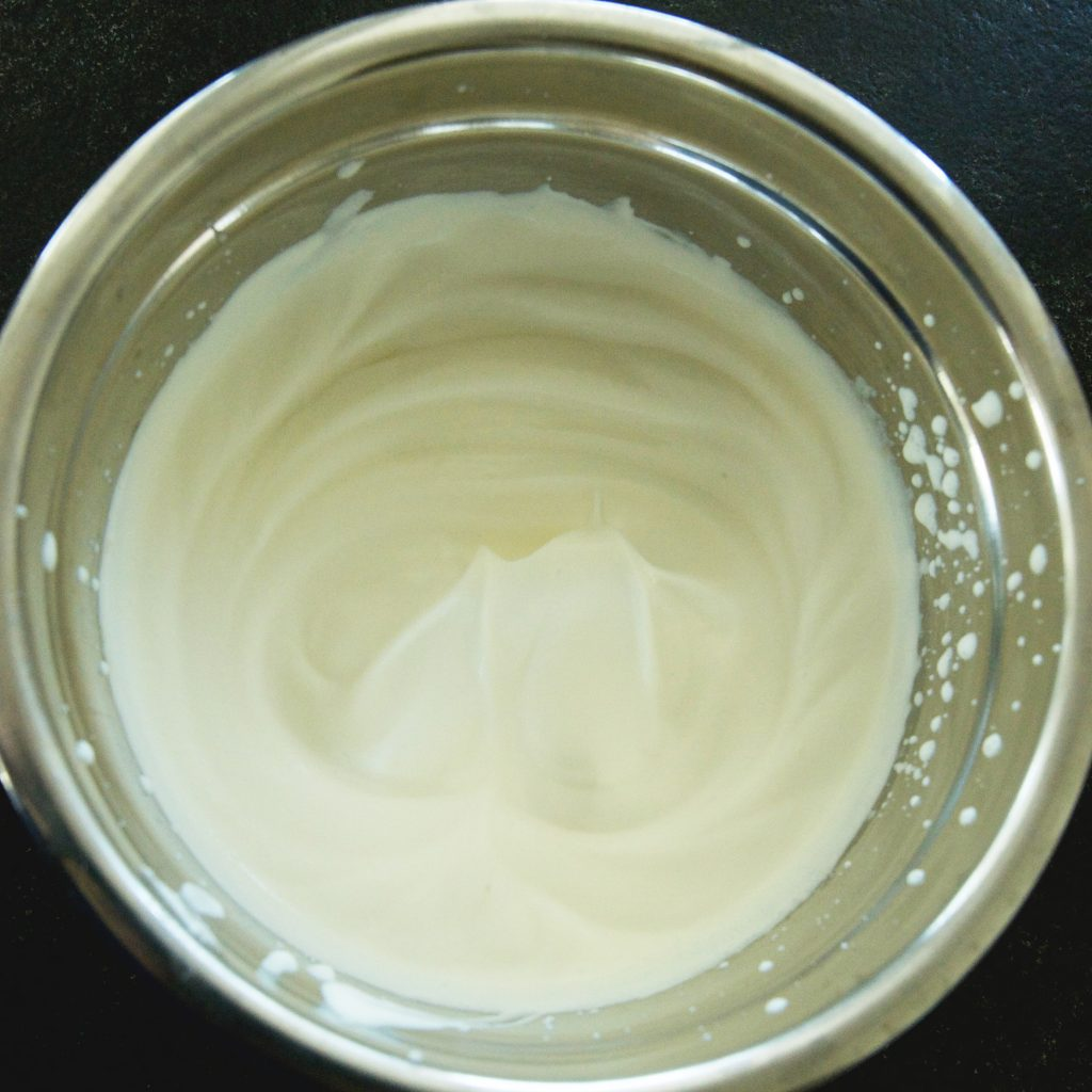 Low-Carb Maple Whipped Cream-soft peaks are formed