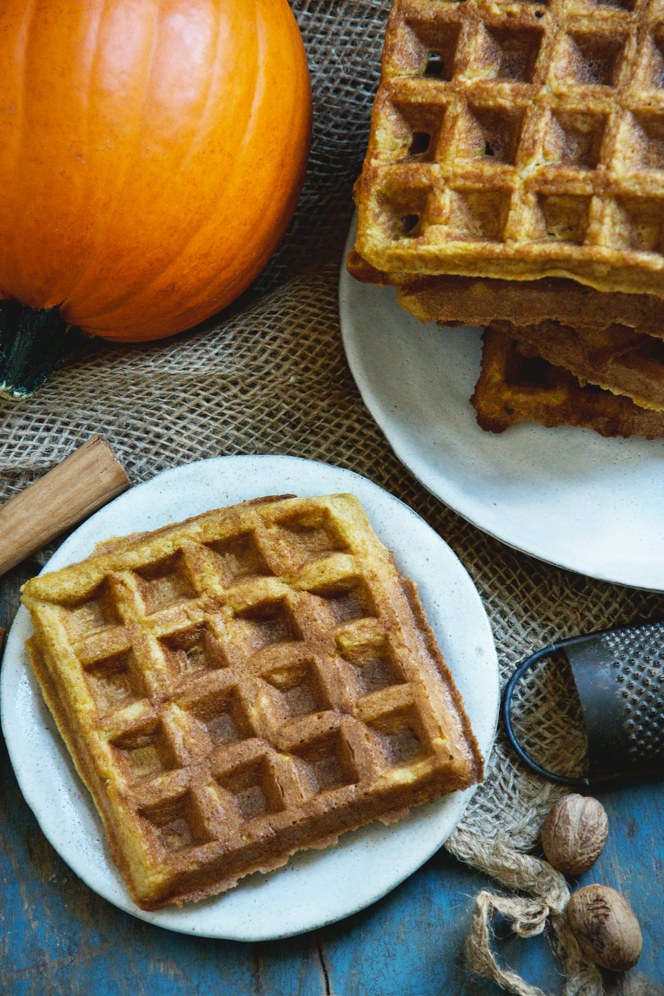 Pumpkin Low-Carb Almond Flour Waffle Recipe -before topping is added.