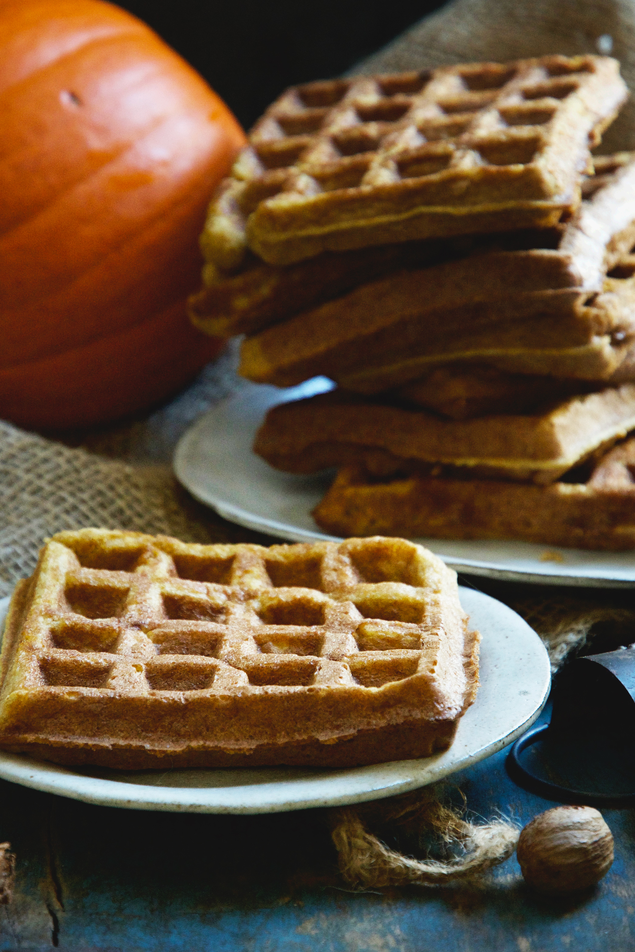 Pumpkin Low-Carb Almond Flour Waffle Recipe -before toppings are added-side shot.