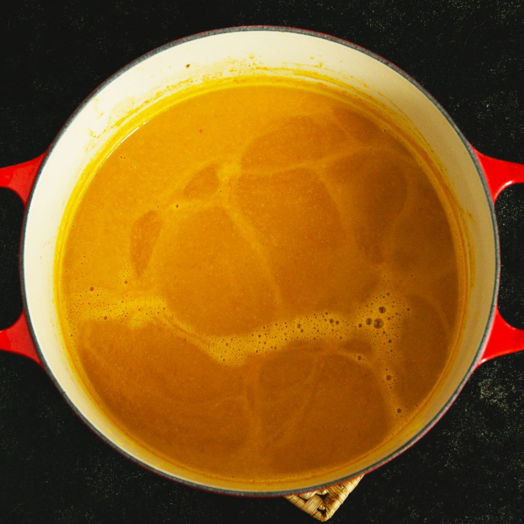 Low-Carb Thai Curried Butternut Squash Soup-after blending.