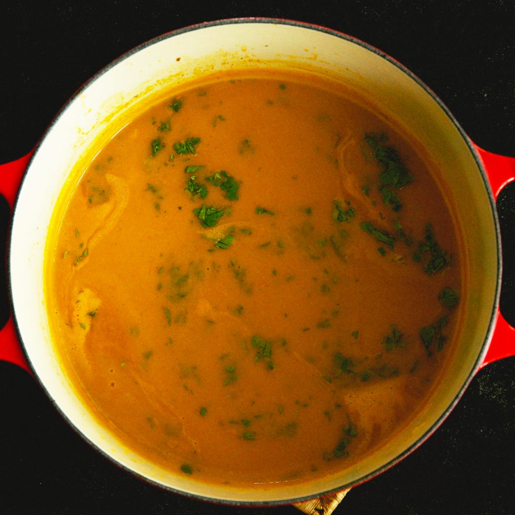 Low-Carb Thai Curried Butternut Squash Soup-adding cilantro