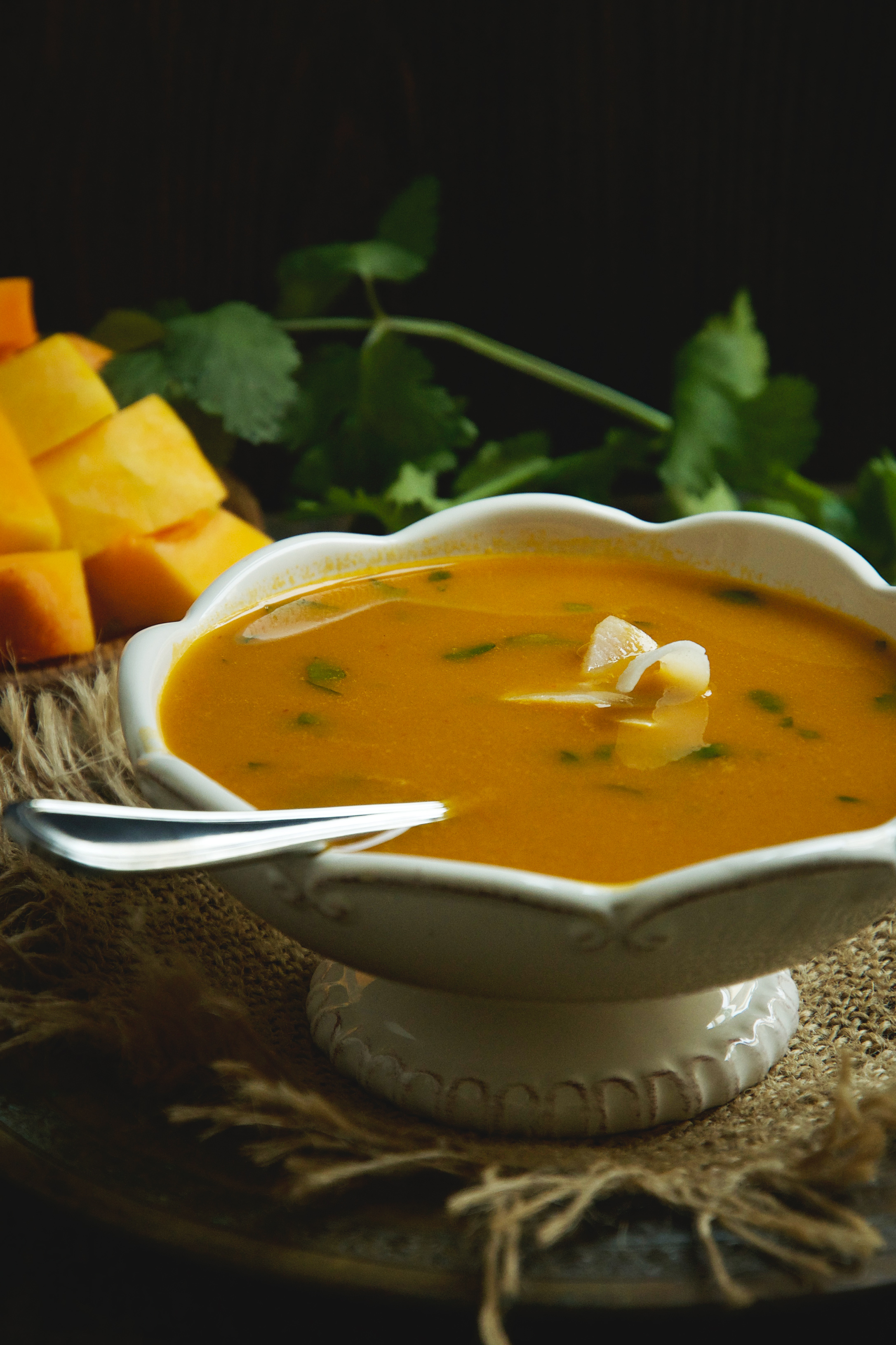 Low-Carb Thai Curried Butternut Squash Soup-garnished with coconut flakes