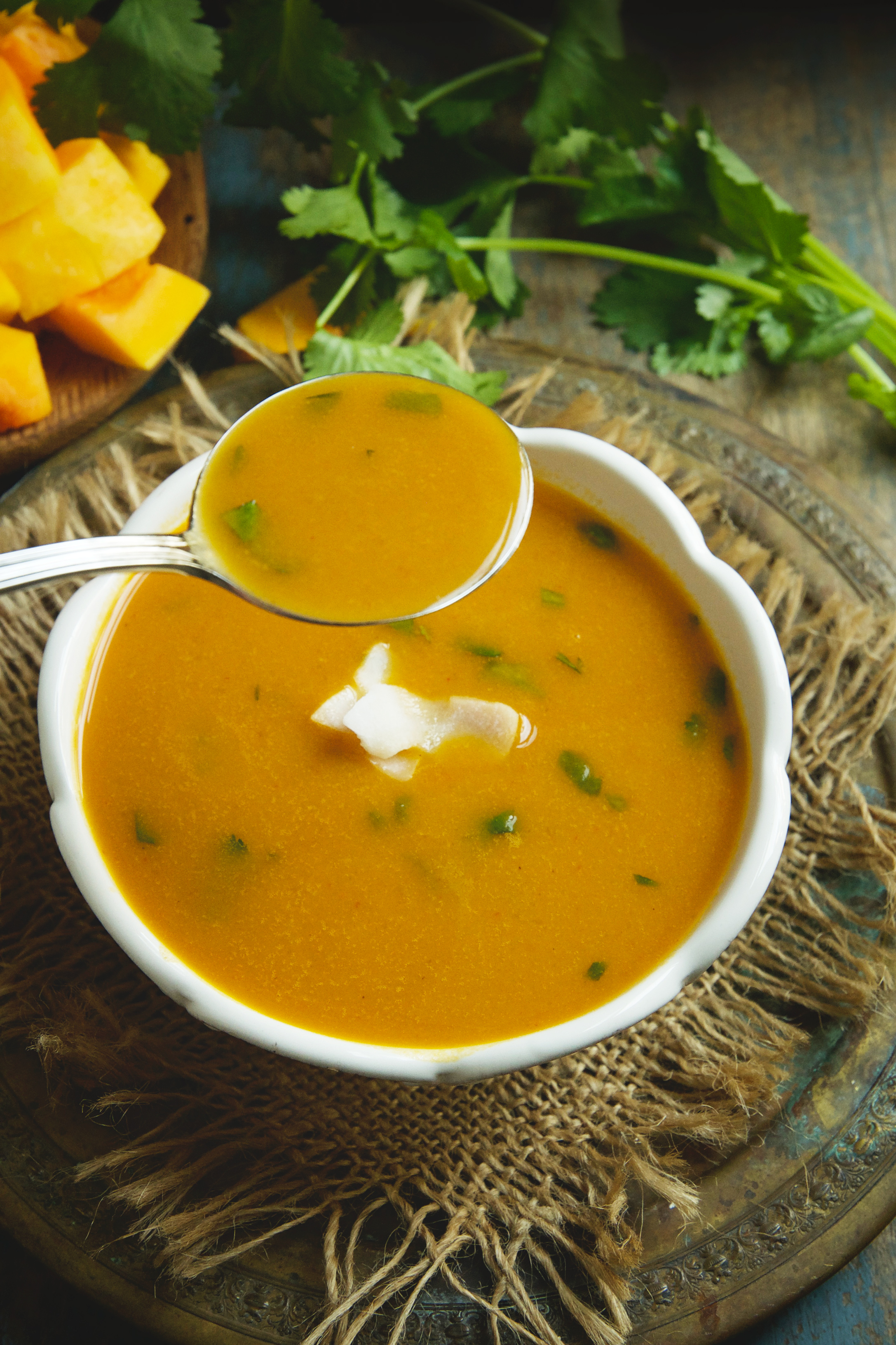 Low-Carb Thai Curried Butternut Squash Soup-on a spoon