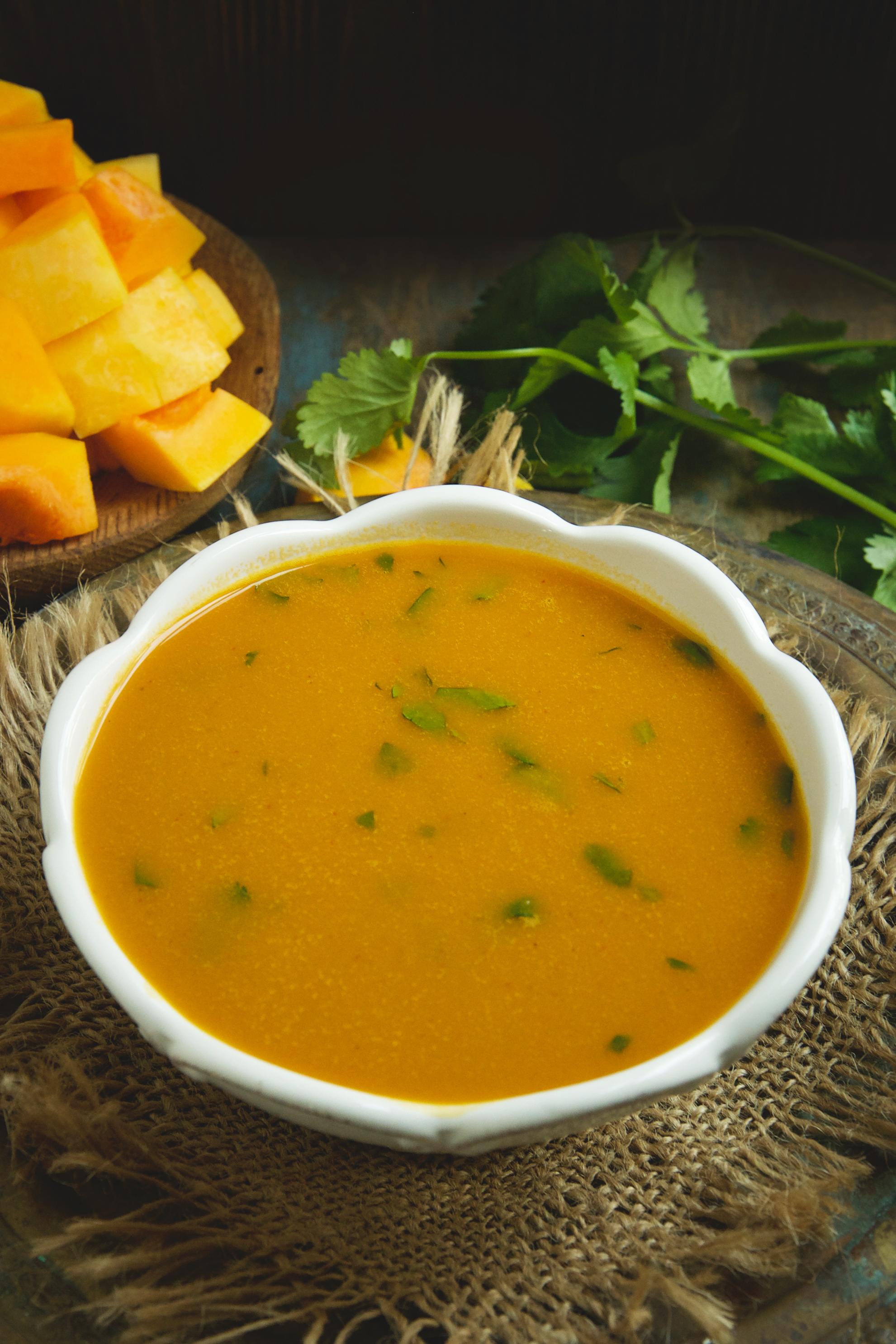 Low-Carb Thai Curried Butternut Squash Soup-before garnishing