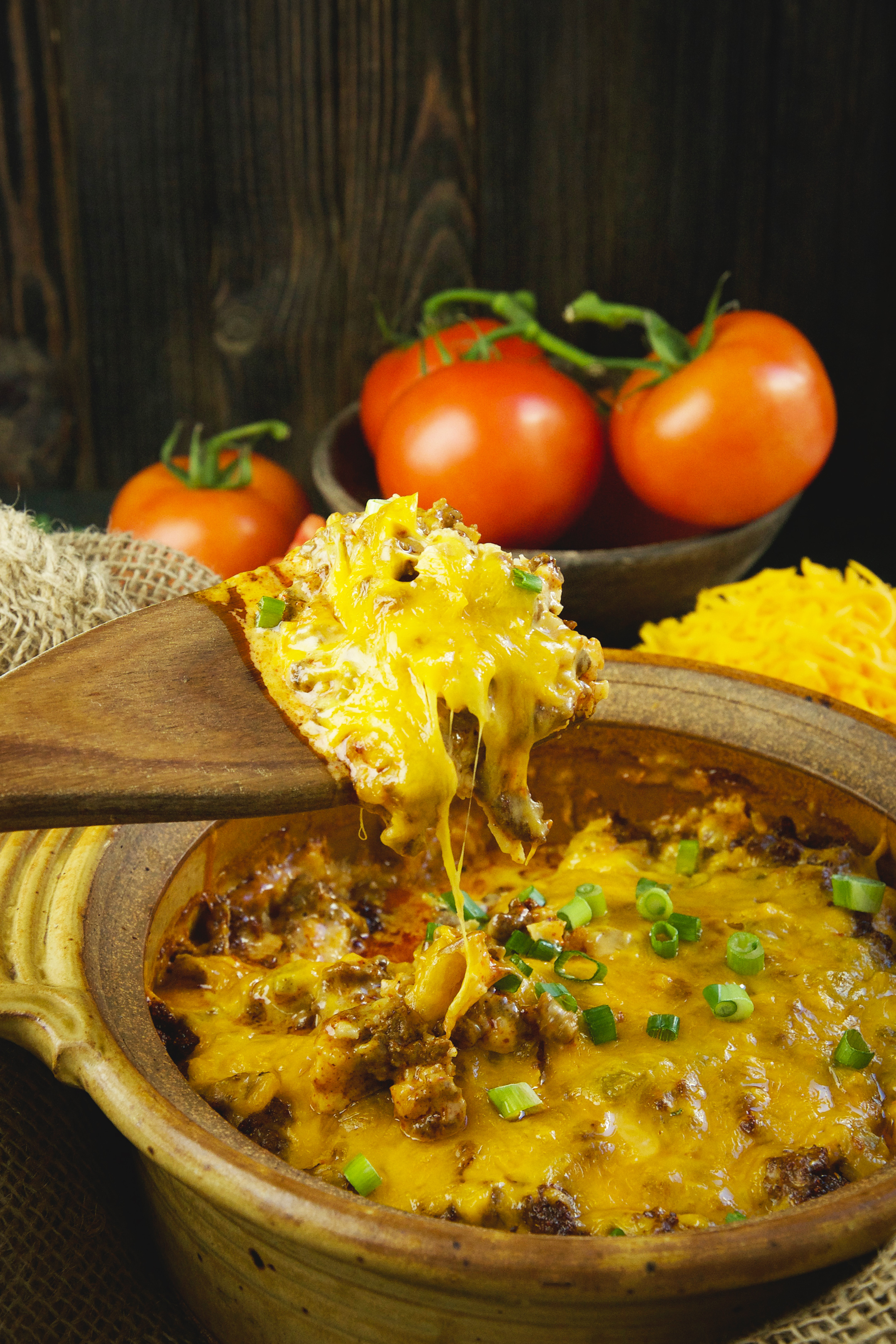 Low-Carb Mexican Taco Casserole-dipping it out.