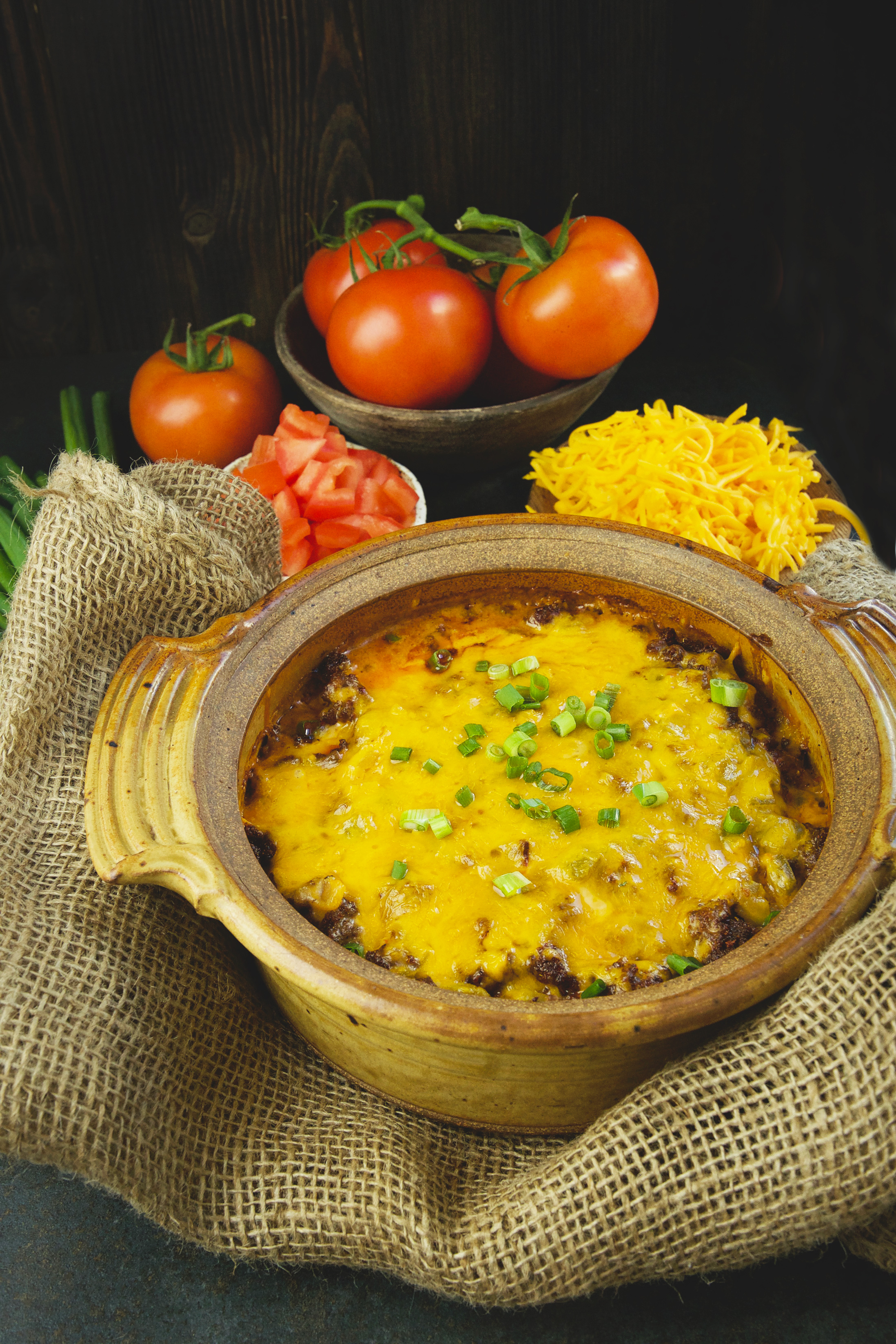 Low-Carb Mexican Taco Casserole-garnished with green onions.