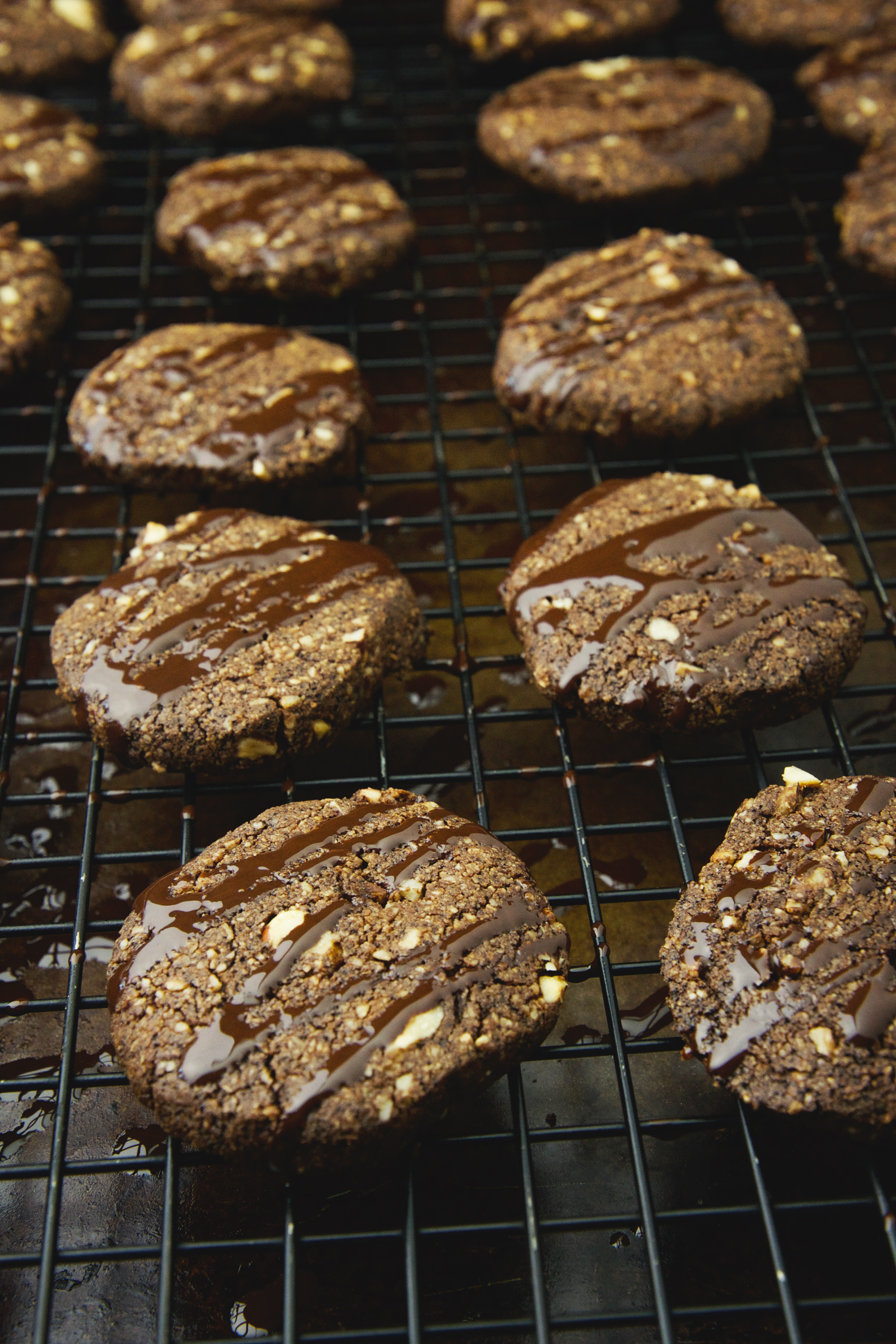 Low-Carb Chocolate Hazelnut Shortbread Cookies - after being drizzled with chocolate.