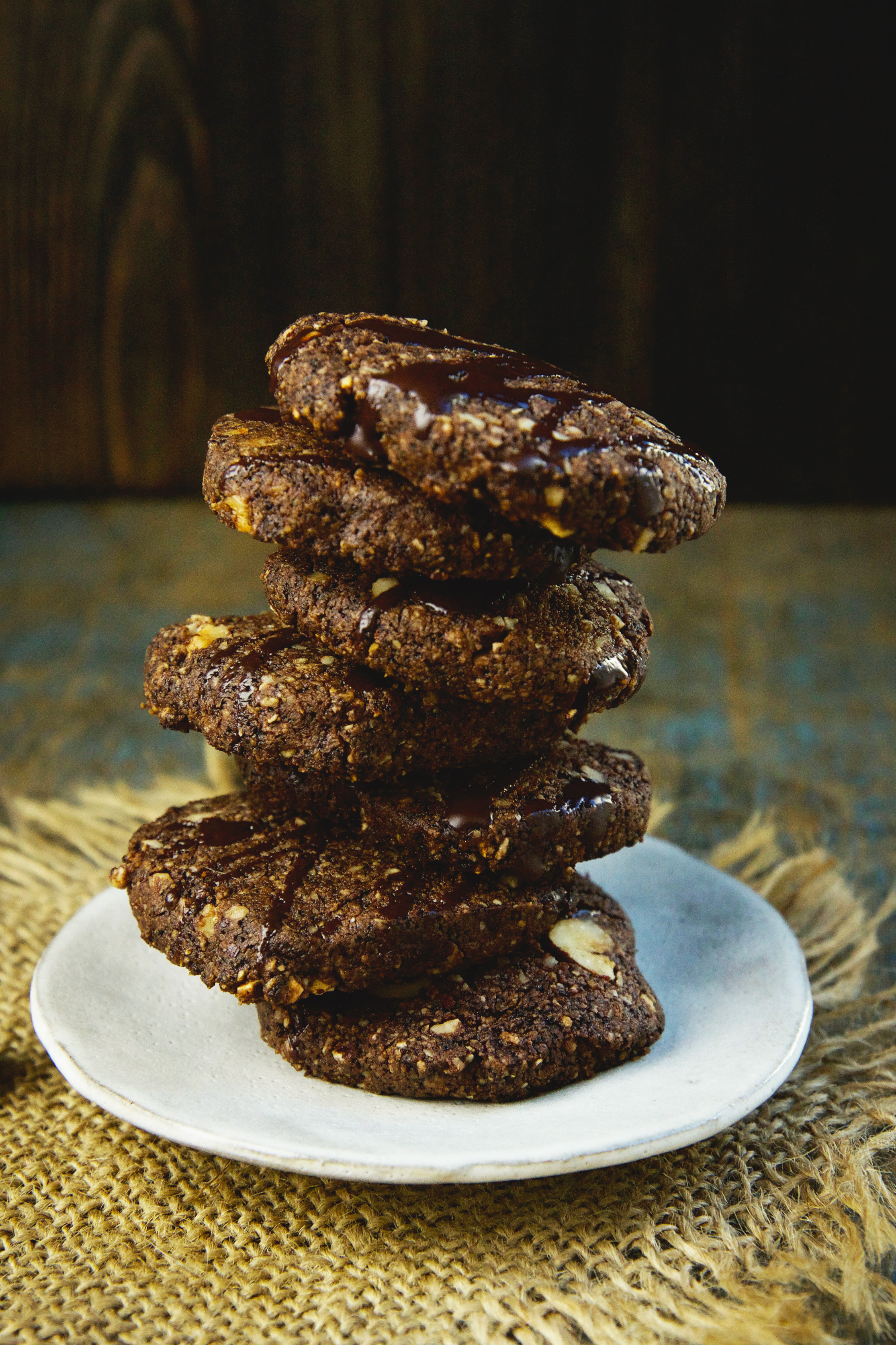 Low-Carb Chocolate Hazelnut Shortbread Cookies-all stacked up.