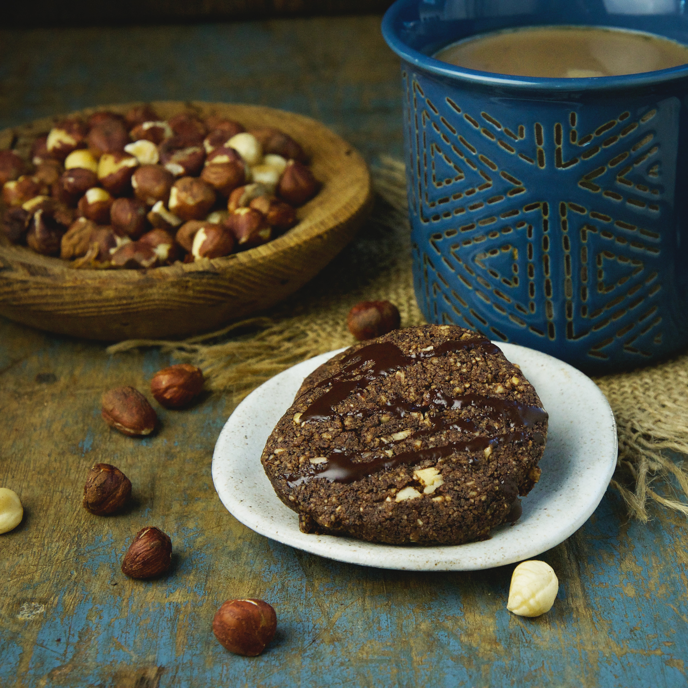 Low-Carb Chocolate Hazelnut Shortbread Cookies-Recipe card image.
