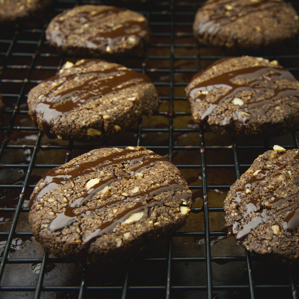Low-Carb Chocolate Hazelnut Shortbread Cookies-After drizzle is added.