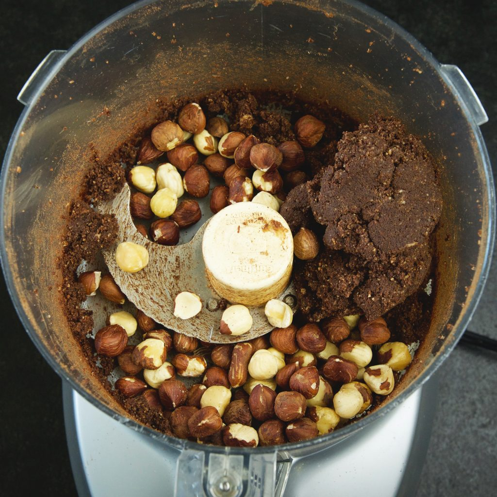 Low-Carb Chocolate Hazelnut Shortbread Cookies-adding the hazelnuts.