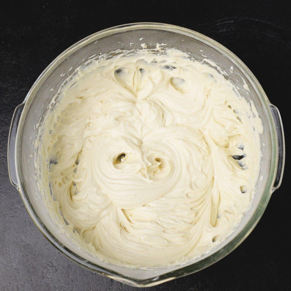 Blending the cream cheese