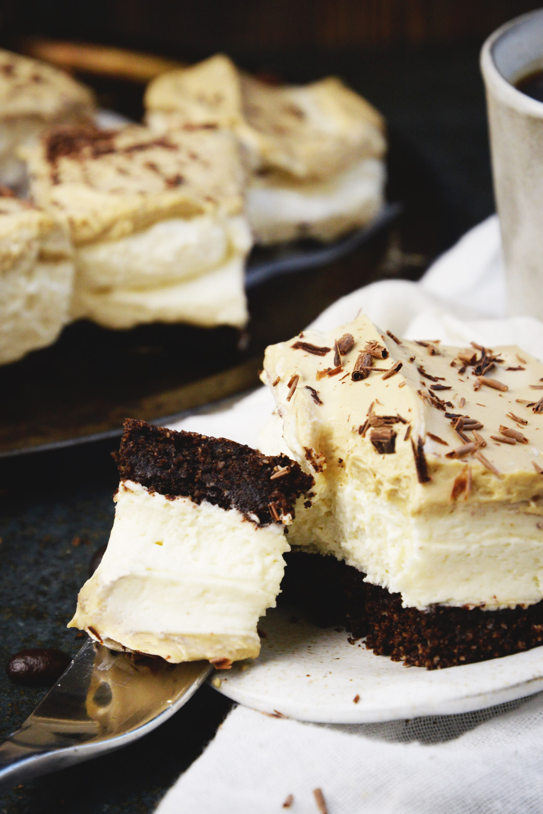 Low-Carb Cappuccino Mousse Cake-a forkful resting on the plate.
