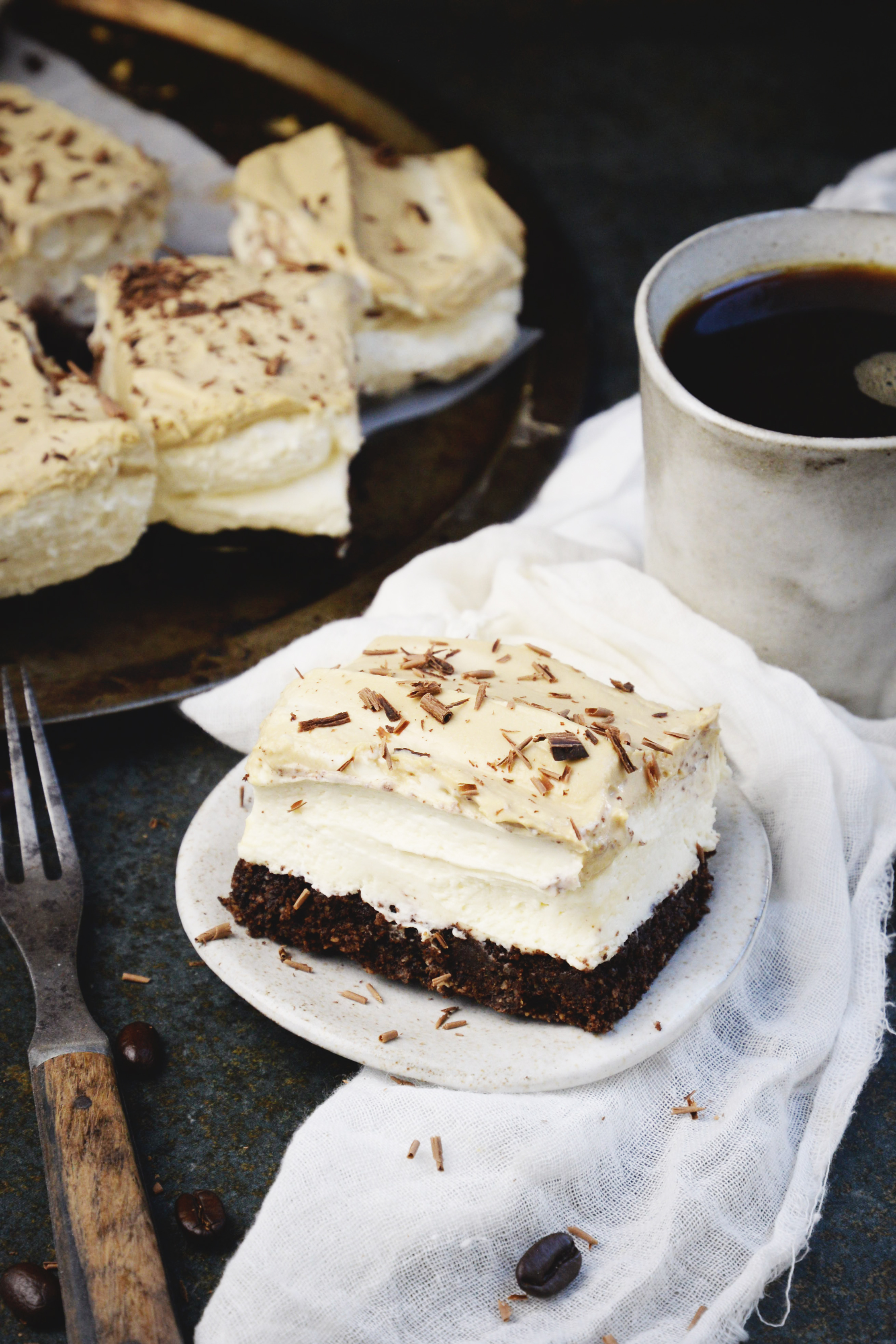Low-Carb Cappuccino Mousse Cake-on a dessert plate.