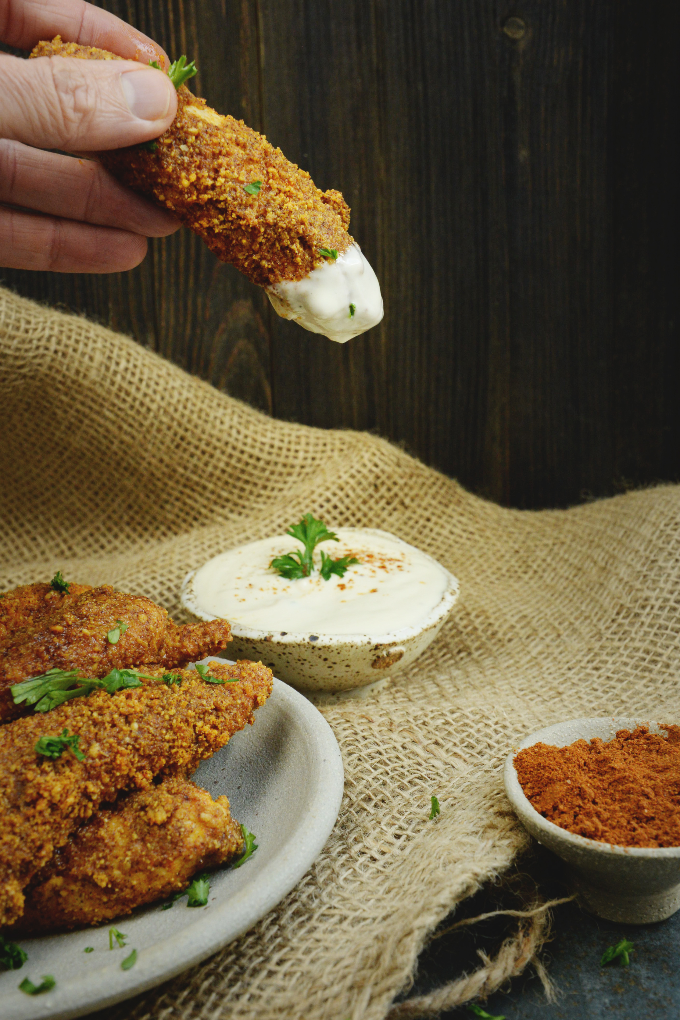 Low-Carb Buffalo Chicken Tenders-Dipped in blue cheese dressing