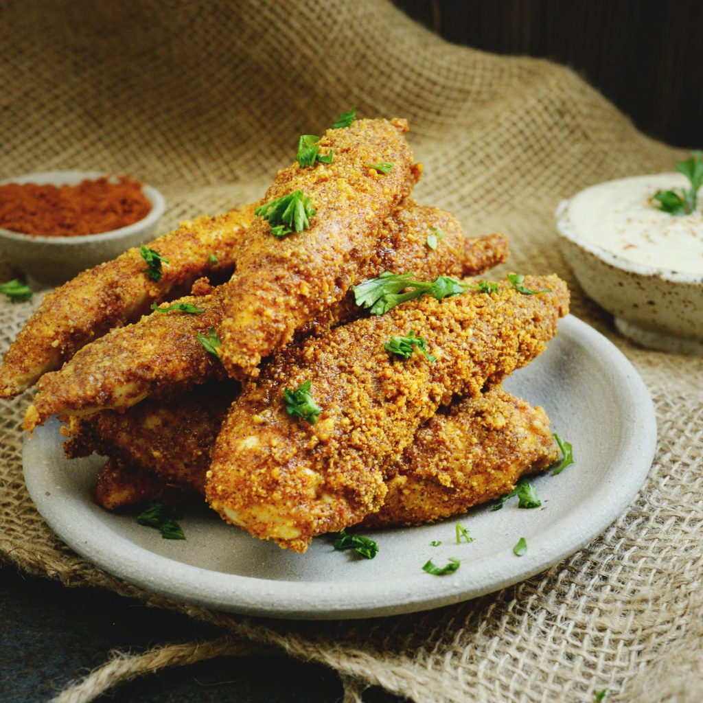 Low-Carb Buffalo Chicken Tenders-on a serving plate