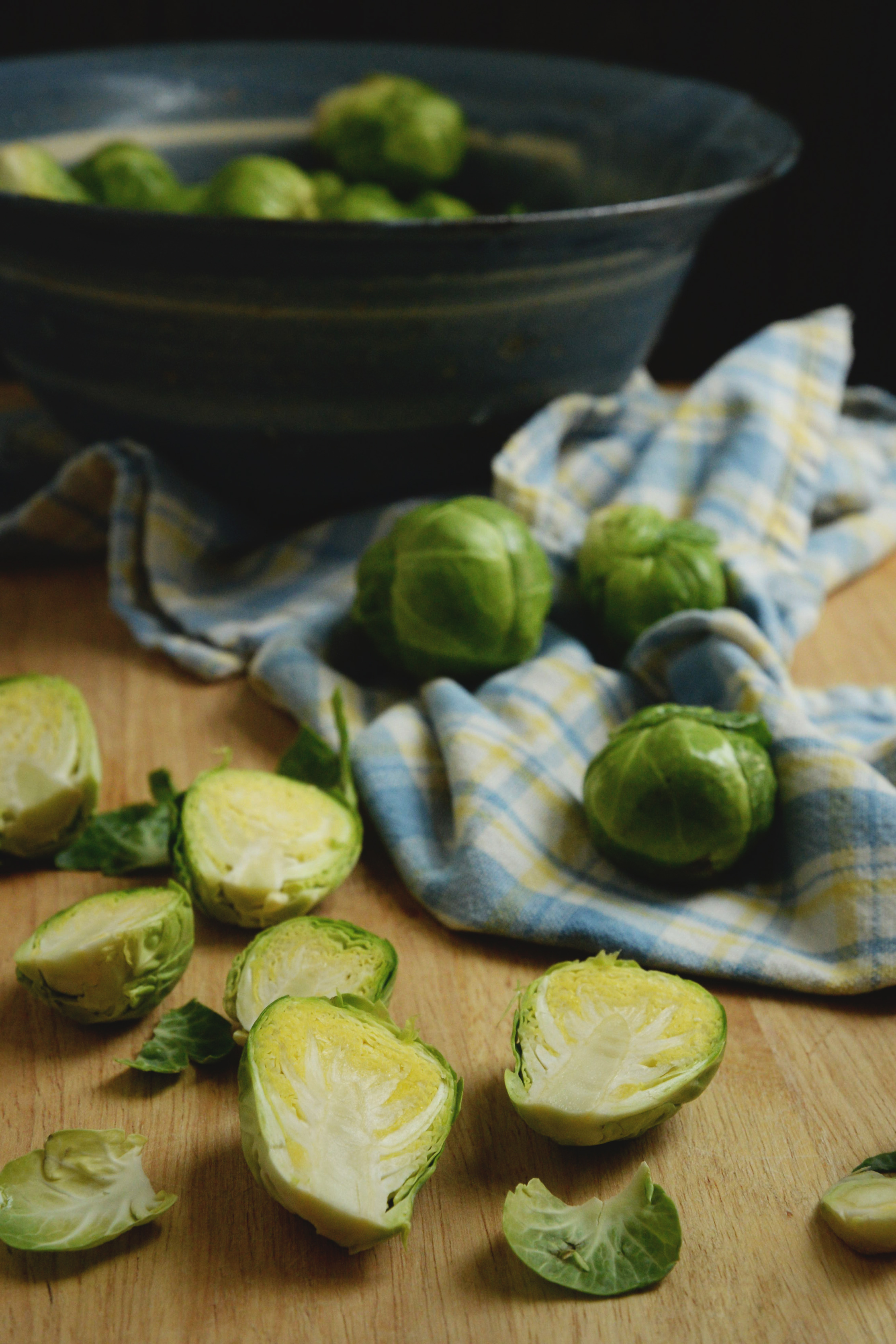 Easy Roasted Brussels Sprouts-trimming the sprouts