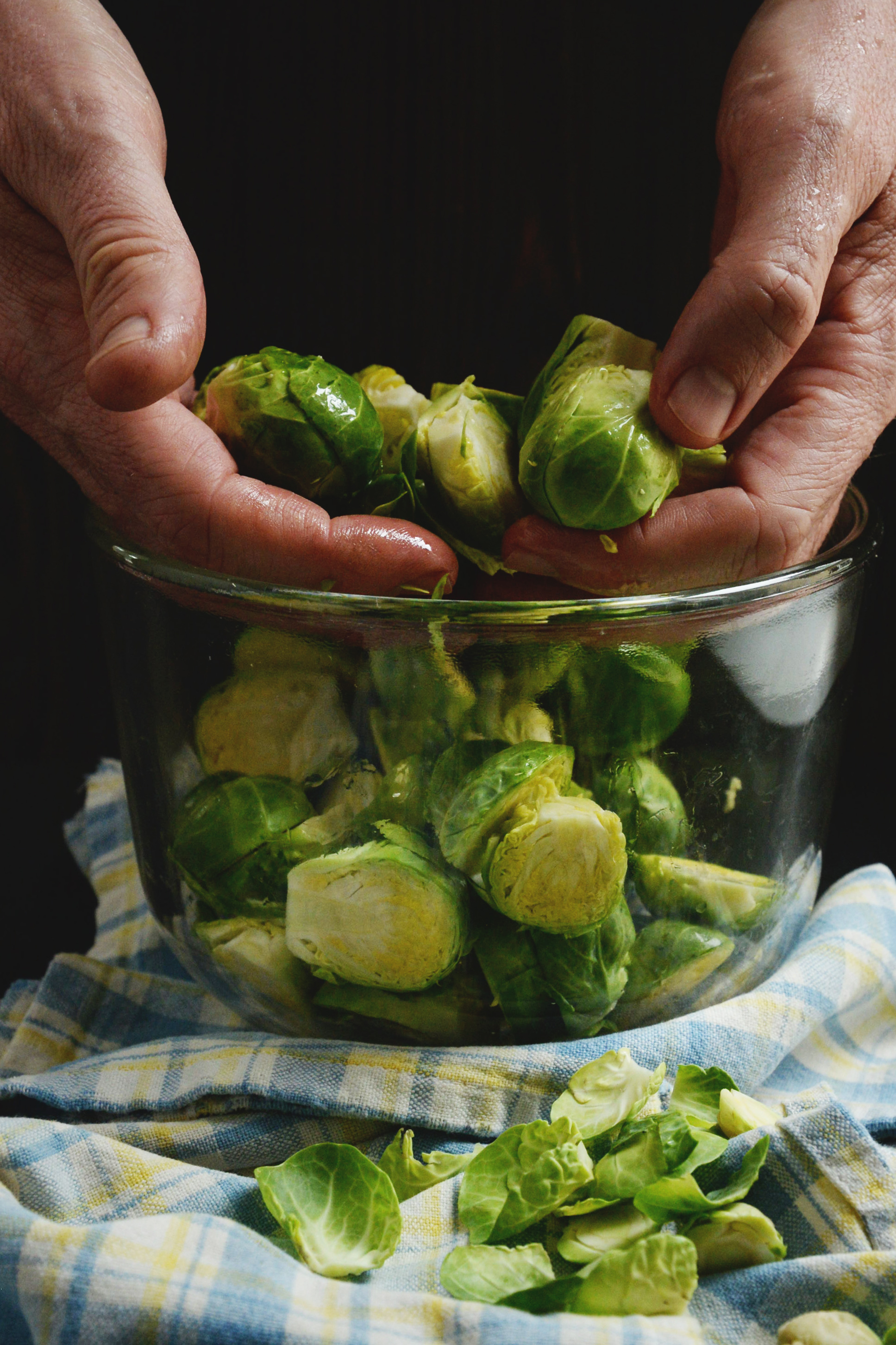 Easy Roasted Brussels Sprouts-coating the sprouts