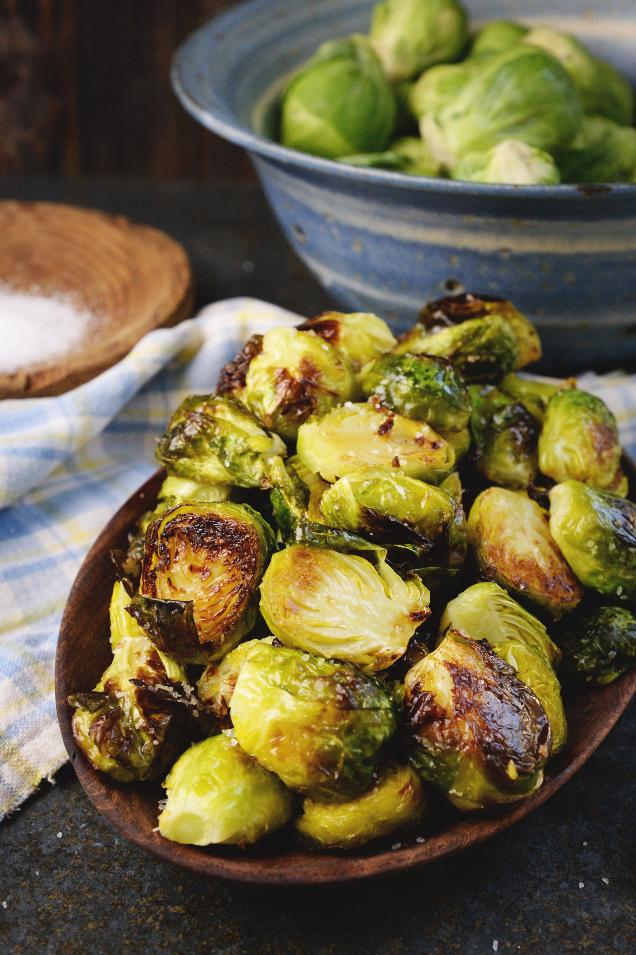 Easy Roasted Brussels Sprouts-in a serving bowl